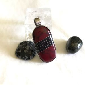 Zuni Jewelry - Reversible Zuni Red Black + Black Side 925 Pendant